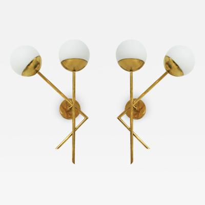 Mid Century Modern Style Brass and Glass Pair of Italian Sconces