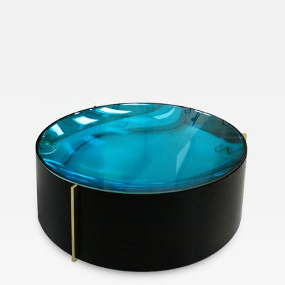 Mid Century Modern Style Colored Glass Metal and Brass Italian Coffee Table