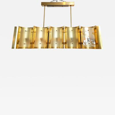 Mid Century Modern Style Dlightus Bespoke Brass and Frosted Glass Chandelier
