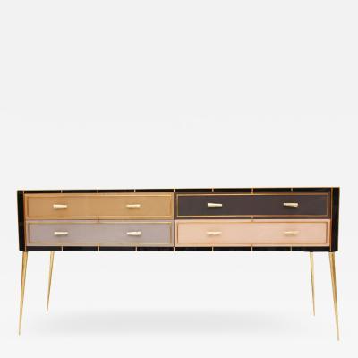 Mid Century Modern Style Murano Glass and Brass Italian Sideboard