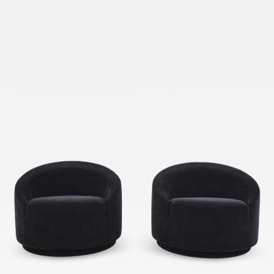 Mid Century Modern Swivel Tub Chairs in Black Mohair