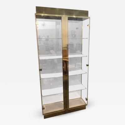 Mid Century Modern Tall Lucite Mirror Gold Tone Metal Cabinet w Lighting