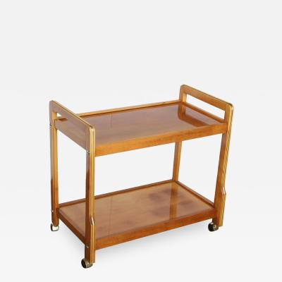 Mid Century Modern Teak and Brass Beverage Bar or Tea Cart with Brass Details