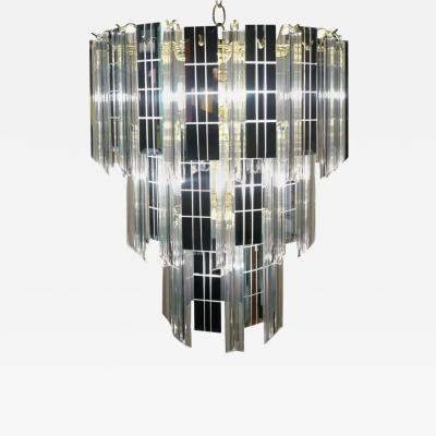 Mid Century Modern Three Tier Lucite and Mirror Mirrored Pendant Lamp Chandelier