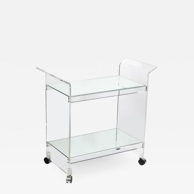 Mid Century Modern Two Tier Translucent Lucite Bar Cart on Chrome Castors