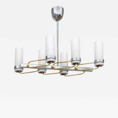 Mid Century Modern Two Tone Chandelier with Glass Shades