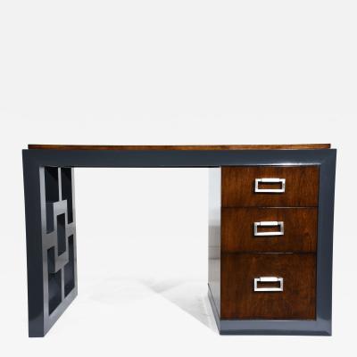 Mid Century Modern Two Tone Kneehole Desk