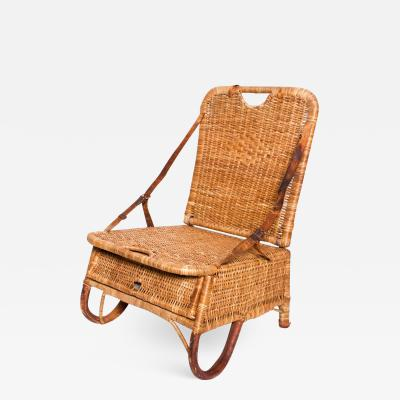 Mid Century Modern Vintage Wicker Leather Sculptural Portable Traveling Chair