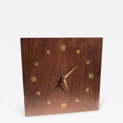 Mid Century Modern Wall Rosewood and Brass Clock