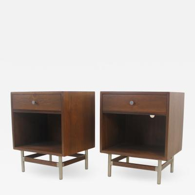 Mid Century Modern Walnut Brushed Steel Night Stands