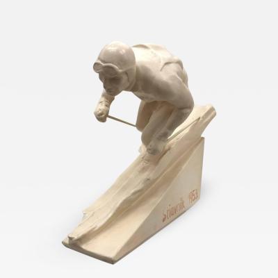 Mid Century Modern White Ceramic Ski Trophy 1953