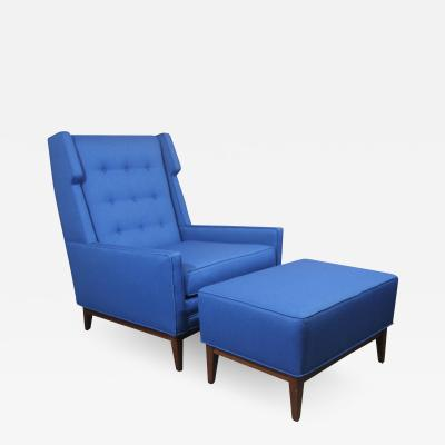 Mid Century Modern Wing Back Chair and Ottoman with New Maharam Fabric