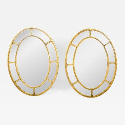 Mid Century Modern Wood Frame Oval Pair Beveled Mirror