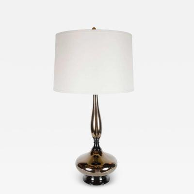 Mid Century Modernist Stylized Hourglass Form Table Lamp in Bronze Ceramic