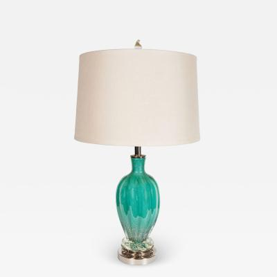 Mid Century Modernist Turquoise Murano Glass Table Lamp with Nickel Fittings