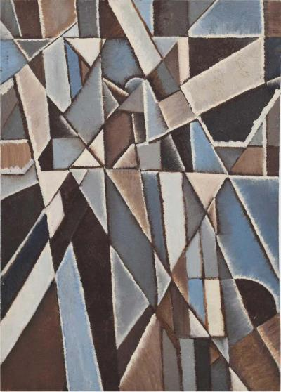 Mid Century New York School Abstract Modernist Cubist Oil Painting 1960s