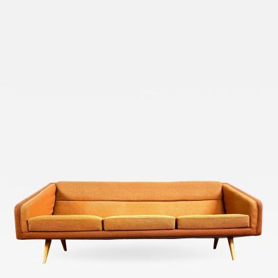 Mid Century Orange Sofa with Maple Legs