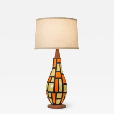 Mid Century Orange and Yellow Ceramic Lamp