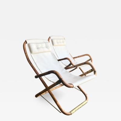 Mid Century Pair of White Campaign Chairs in Brass and Bamboo Italy 1960s