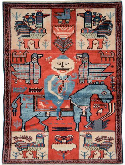 Mid Century Persian Pictorial Hamadan Rug