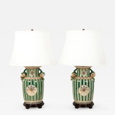 Mid Century Porcelain Pair Task Table Lamps With Wood Base