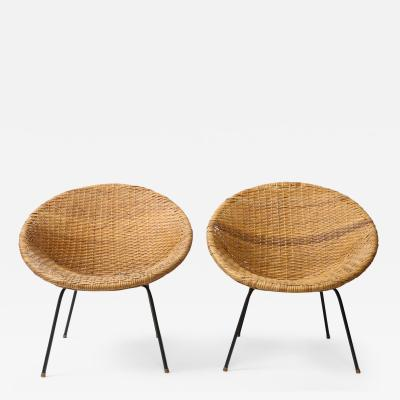 Mid Century Rattan and Iron Saucer Chairs USA c 1950