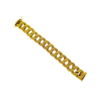 Mid Century Rope Link Gold Bracelet