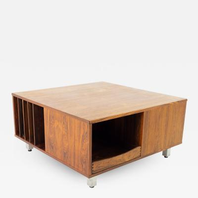 Mid Century Rosewood and Chrome Coffee Table Storage Cabinet