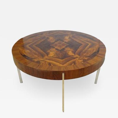 Mid Century Round Cocktail Table in Walnut and Chrome France Circa 1965