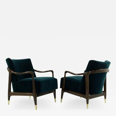 Mid Century Sculptural Walnut Lounge Chairs 1950s