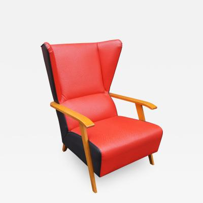 Mid Century Spanish High back Leather Lounge Chair