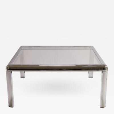 Mid Century Square Chrome Cocktail Table with Rounded Frame