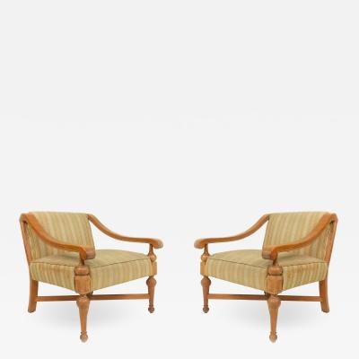Mid Century Sycamore Upholstered Arm Chairs