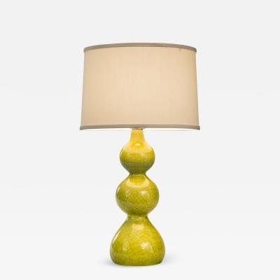 Mid Century Triple Gourd Ceramic Lamp