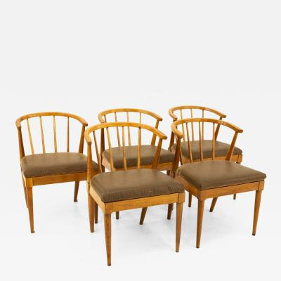Mid Century Walnut Barrel Dining Chairs with Spindles Set of 5