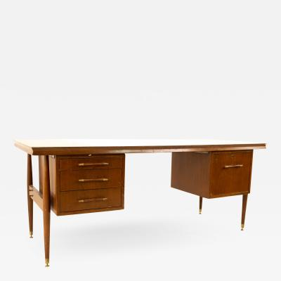 Mid Century Walnut Brass and Formica Double Sided Executive Desk