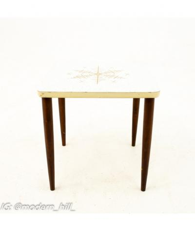 Mid Century Walnut and White Laminate End Tables Set of 3