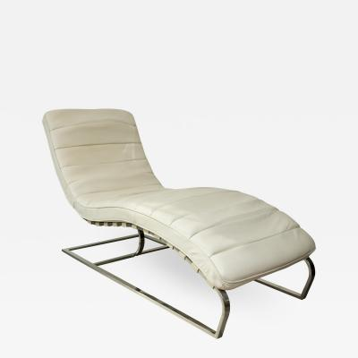Mid Century White Leather and Chrome Chaise Lounge