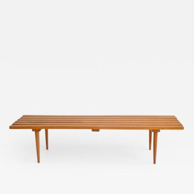 Mid Century Wood Slat Bench