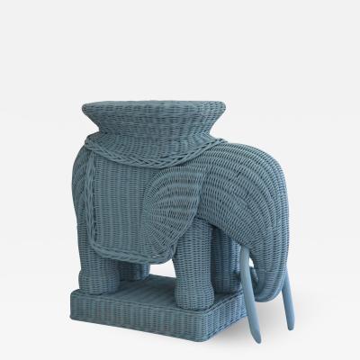 Mid Century Woven Rattan Elephant Form Side Table