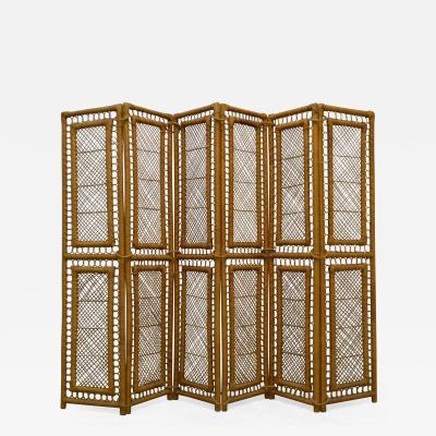 Mid Century Woven Rattan Six Panel Screen