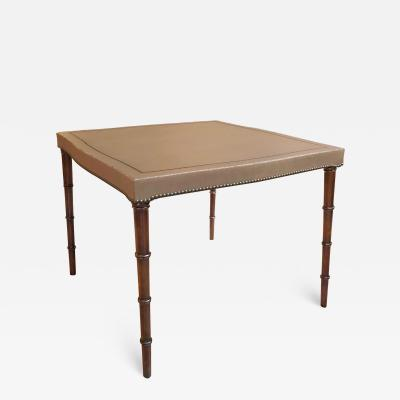 Mid century Game Table with Taupe Leather Top by Barnard Simonds Furniture