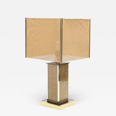 Mid century Italian brass lacquer cane table lamp 1970s