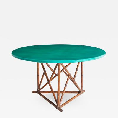 Mid century Lacquered Bamboo Dining Table 1960s