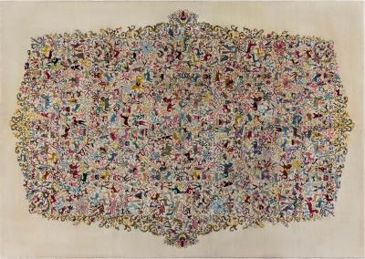 Mid century Olga Fisch Colorful Carpet Caceria The Hunt