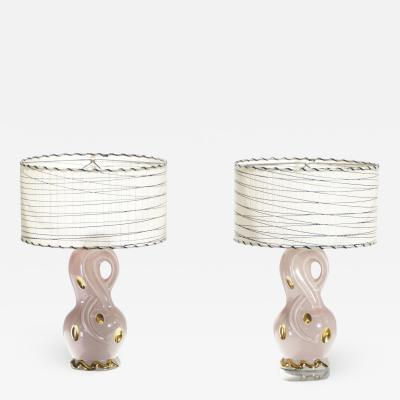Mid century Pair of French pink ceramic lamps 1960s