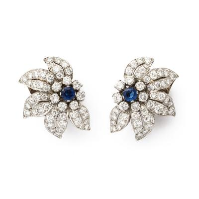 Mid century Sapphire and Diamond Floral Clip Earrings