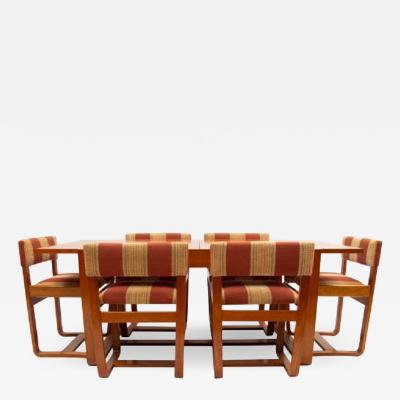 Mid century dining table and six chairs by Uniflex