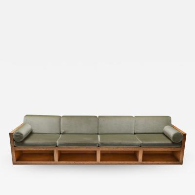 Mid century modern sofa in pitch pine and velvet 1960s