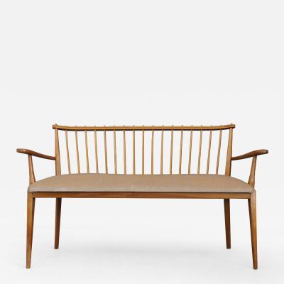 MidCentury Sofa Swedish design armchairs in wood cherry and velvet 1950s